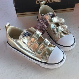 Converse gold sneakers size 10 infant NWB